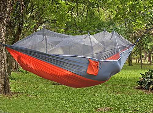 Price comparison product image Enjoydeal Mosquito Net Hammock Multifunction Portable Double Person Camping Hiking Grey+Orange(Gray Mesh)