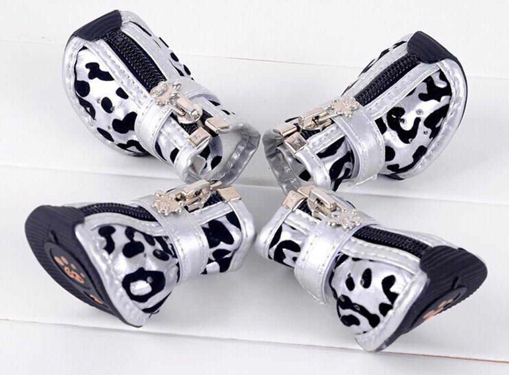 PU Non-slip Zipper Dog Boot Pet Casual Shoes, Silver Leopard Print by Panda Superstore (Image #2)