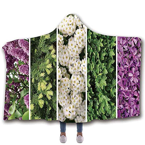 (MOOCOM Flower Durable Hooded Blanket,Collage Mix Diverse Herbs and Blossoming Bouquet Flowers Romantic Wedding Concept for All Seasons,80