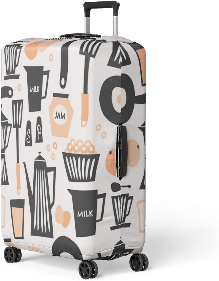 Pinbeam Luggage Cover Mid Century Pattern Breakfast in Black Pastel Orange Travel Suitcase Cover Protector Baggage Case Fits 18-22 inches