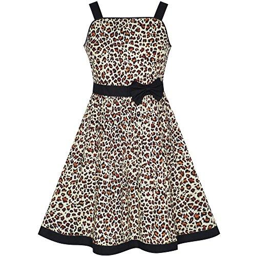 Sunny Fashion LD51 Girls Dress Brown Leopard Print Summer Beach Size 4-5 -