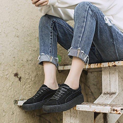 Scarpe Creepers Basse Donna Sneaker Nero Stringate YORWOR 6Oqw5zz