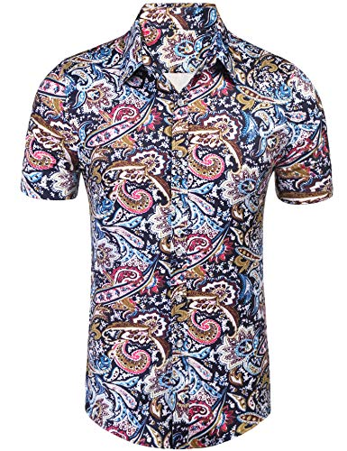 Daupanzees Mens Paisley Dress Shirt Fashion Noble Short Sleeve Vintage Italian Button-up Print Luxury Casual Button Down Shirts (Blue XL)