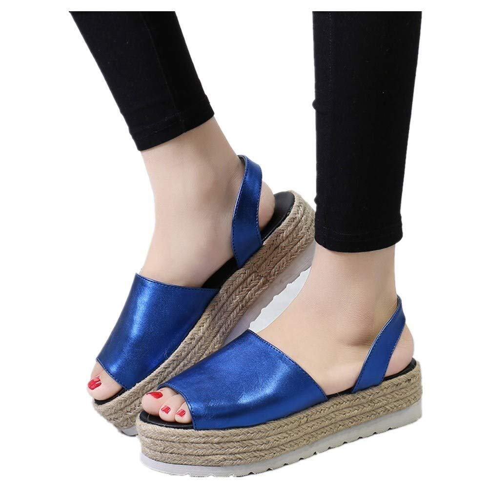Gobling Summer Womens Wedges Sandals Leisure Classic Solid Color Anti-Slip Platforms Sandals Stylish Soft Cozy Simple Sling Back Fish-Mouth Sandals (Color : Blue, Size : 7.5 M US)
