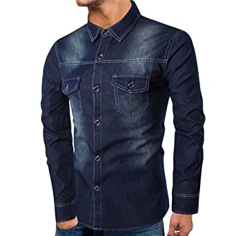 ♚Blusa de Mezclilla otoño de los Hombres, Personalidad Camisa de Bolsillo de Manga Larga Delgada Ocasional Blusa Superior Absolute: Amazon.es: Ropa y ...