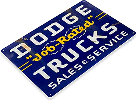 "DEPENDABLE DODGE CARS /& TRUCKS SERVICE 17/"" METAL DOME SIGN ~ GARAGE  MANCAVE"