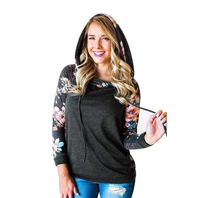 YanHoo Tops de Mujer Estampado de Costura de la Temporada Femenina, suéter Delgado con Capucha Llamativo Sudadera con Capucha de Manga Larga con Estampado ...