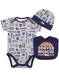 NFL Denver Broncos Bodysuit, Bib & Cap Set (3 Piece), 3-6 Months, Gray