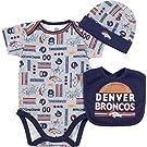 NFL Denver Broncos Bodysuit, Bib & Cap Set (3 Piece), 0-3 Months, Gray
