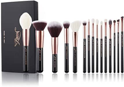 Jessup Makeup Brushes, Labeled Makeup Brush Set Premium Synthetic and Natural Hair Foundation Powder Concealer Eyeshadow Blending 15pcs Brush Kit, Rose Gold/Black T160