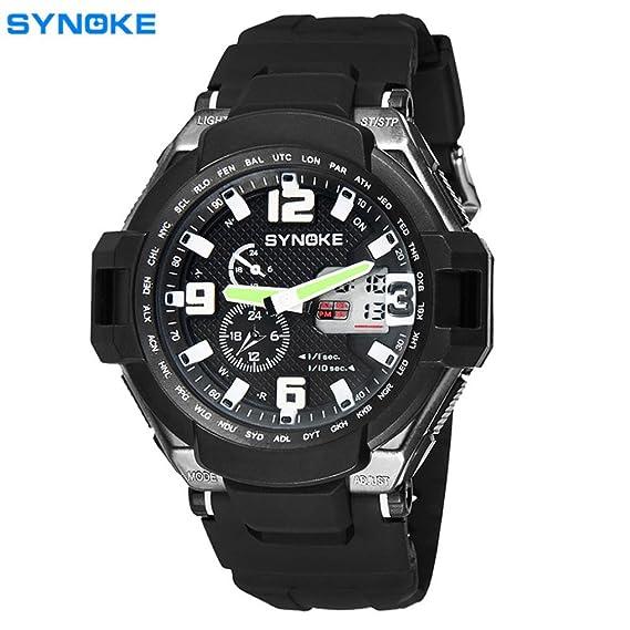 kinghard de los hombres del deporte del reloj militar función multi LED Digital cuarzo reloj deportivo