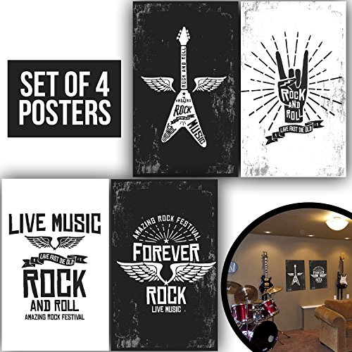 Made With Tone, Limited Edition: Band Posters, Set Of Four 11X17 Electric Guitar Lovers decorations Prints and Punk Bands poster gifts ideas, Wall Art Decoration of 1 MM Thick for Bedroom!