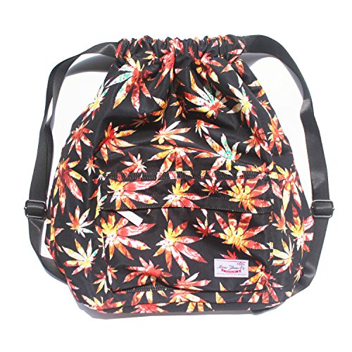 Dry Wet Separated Swimming Bag Floral Waterproof Drawstring Backpack Pool Beach Travel Gym Bag (Maple leaf)