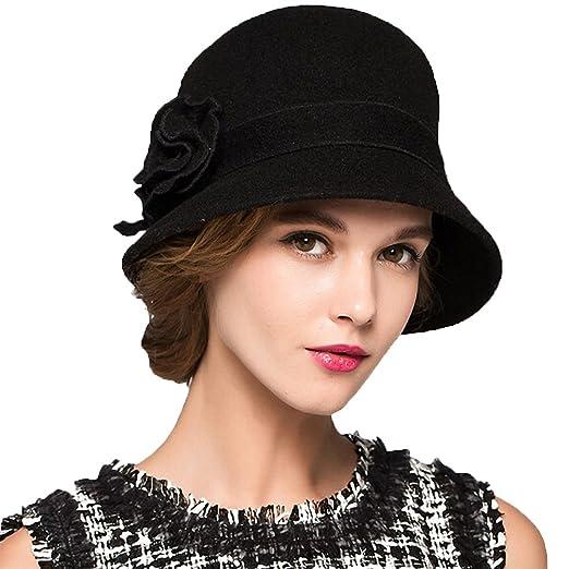 Maitose Trade  Women s Wool Felt Flowers Church Bowler Hats Black at ... e16e64f1d296