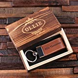 Personalized Leather Engraved Key Chain Black Light Brown and Dark Brown with Wood Box
