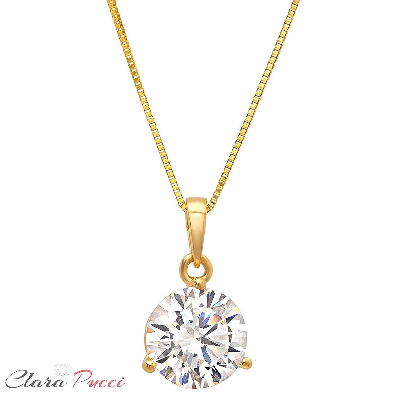 Clara Pucci 2.10 CT Brilliant Round Cut CZ 14K Yellow Gold Martini Solitaire Pendant Box Necklace 16 Chain