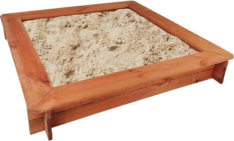 SunDeluxe Caja de Arena para niños de Madera con Bancos 119 x 119 cm - Cajón de Arena/Arenero Entretenimiento al Aire Libre: Amazon.es: Jardín