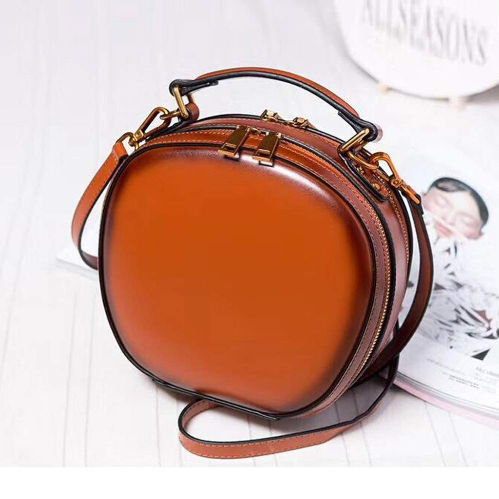 Women's Shoulder Messenger Bag Leather Bag Round Bag Double Row Zipper for Makeup Travel Can Accommodate Mobile Phones and Wallets,Orange by ZXDFG
