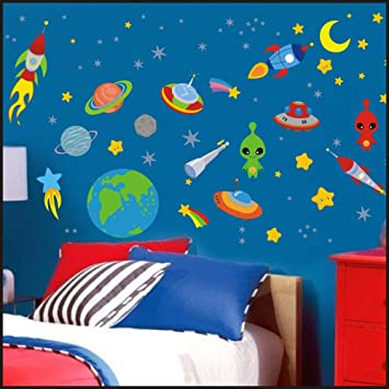 Outer Space Planets Rocket Ship Kids Children Room Wall Stickers Decal Art 904 150cm