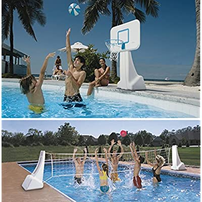Dunnrite Products Pool Sport 2-in-1 Swimming Basketball Hoop and Volleyball Combo Set: Sports & Outdoors