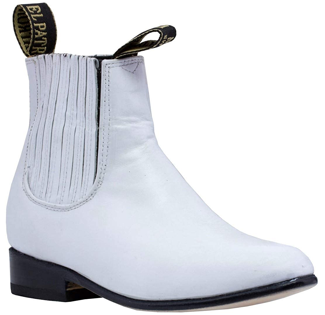Kids Toddler White Smooth Leather Western Dress Ankle Boots Round Toe 1 Youth Veretta Boots