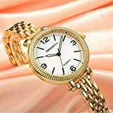 Women' s Quartz Analog Gold-toned Wrist Watch with Simple Dial and Slim Bracelet, Elegant Fashion Dress Watches for Women and Ladies