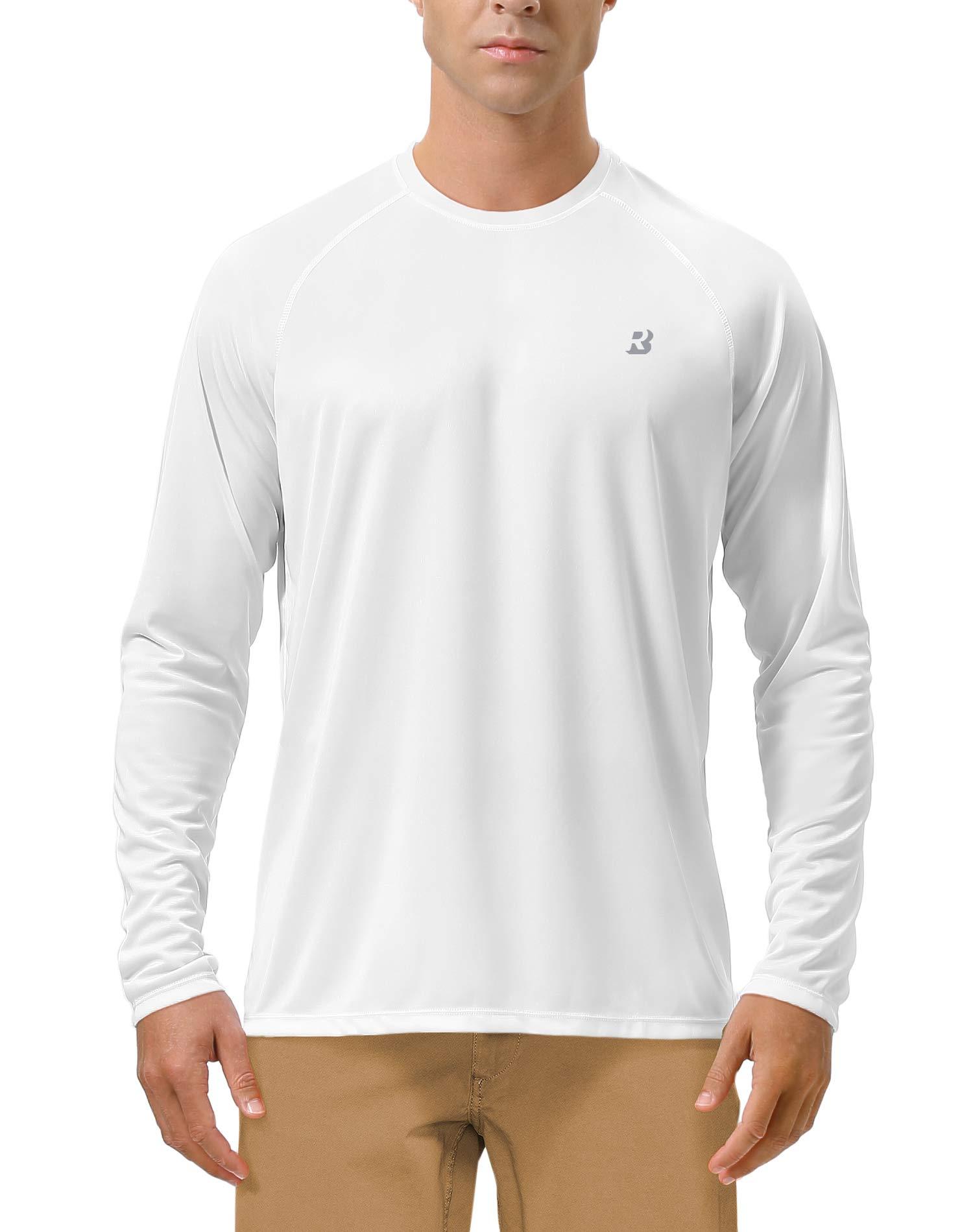 Roadbox Men's Sun Protection UPF 50+ UV Outdoor Long Sleeve Dri-fit T-Shirt Rashguard for Running, Fishing, Hiking(Small, White) by Roadbox