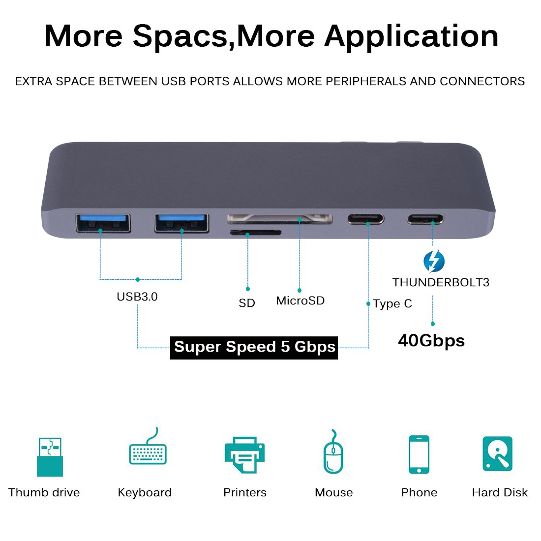 """BENEVE MacBook Pro Type C Hub/Adapter w/SD Card Reader,3 USB 3.0 Ports for New MacBook Pro13""""15"""" 2016 2017 with Thunderbolt 3 Ports, MacBook12"""" HP Specter,Chromebook Pixel and More Grey"""