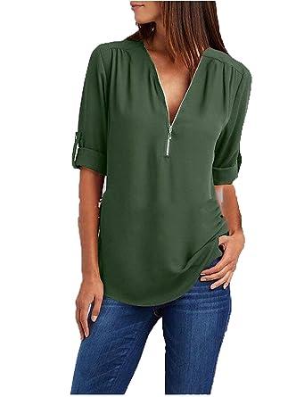 b1c5631fa35cb Tops Femme Eté Elégante Mode T Shirts Avec Fermeture Éclair Uni ...