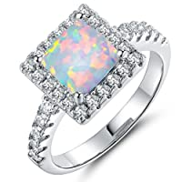 Fashion Opal Rings White Fire Created Opal for Women Gift Wedding Engagment Party Bands Ring Size 6 7 8 9 10