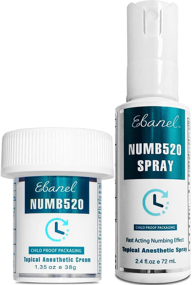 Ebanel Bundle of Lidocaine Numbing Cream, and Numbing Spray