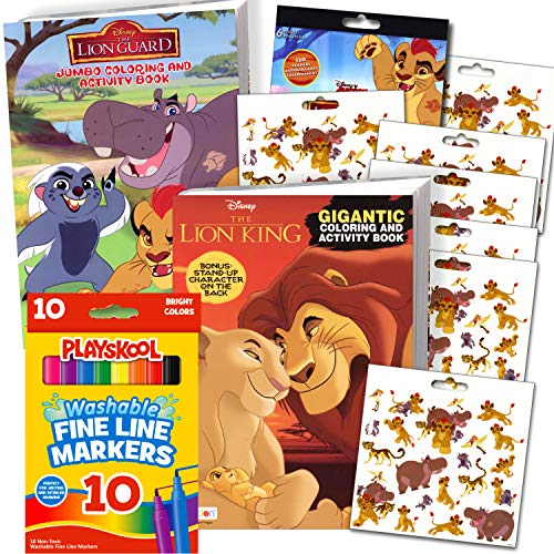 Lion Guard Coloring Book Super Set Bundle - 2 Lion Guard Coloring Books with Lion Guard Markers