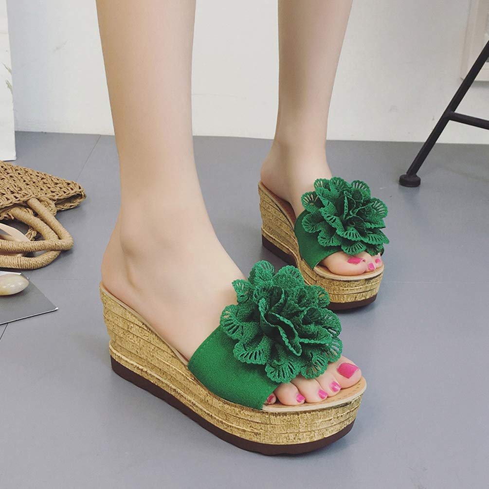 Women Summer Bottom Platform Shoes Fashion Floral Waterproof Sandals Wedge Slippers Thick Slope Shoes