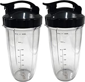 JOYSTAR 2pcs Replacement parts 32oz Huge cup with Flip Top To-Go Lid, Compatible with Nutribullet prime/balance/lean/Max/select with 1200W Blender Juicer (4)