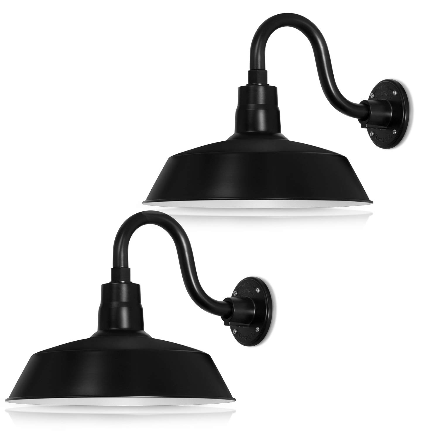 14in. Satin Black Outdoor Gooseneck Barn Light Fixture With 10in. Long Extension Arm - Wall Sconce Farmhouse, Antique Style - UL Listed - 9W 900lm A19 LED Bulb (5000K Cool White) - 2-Pack