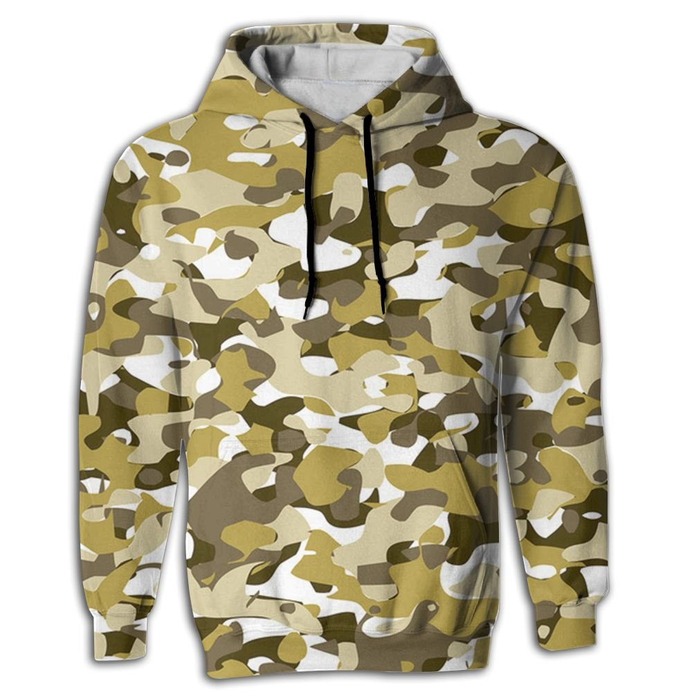 QQMIMIG Unisex Yellow Camouflage 3D Printed Pullover Long Sleeve Fleece Hooded Sweatshirts with Pockets