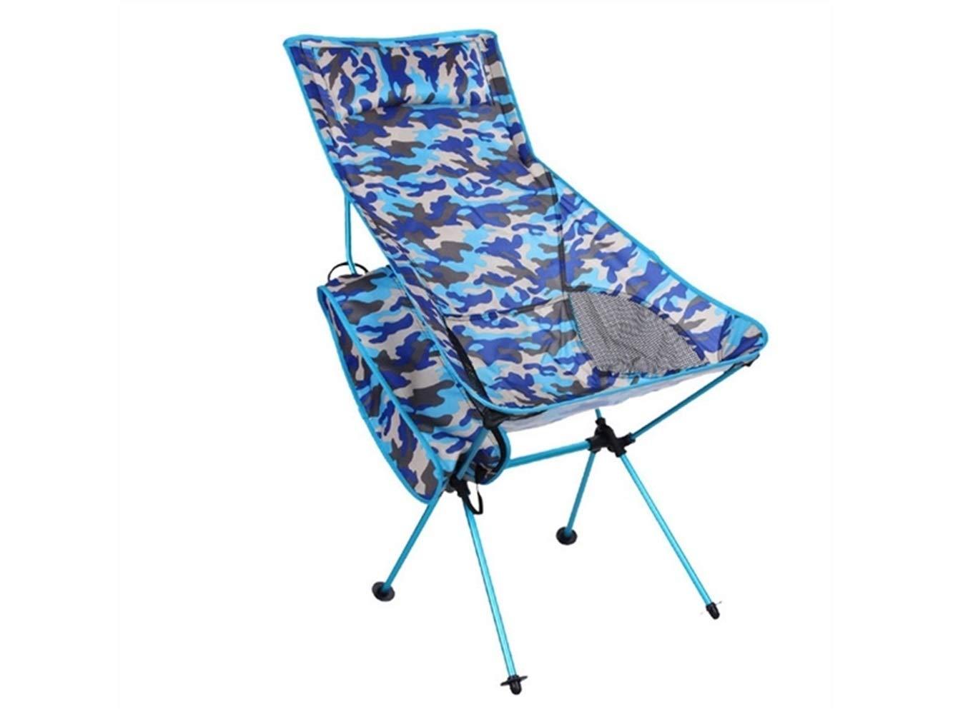 LMKIJN Bequemer Stuhl Tragbare Klapp Angeln Stuhl Liege Camping Stuhl für Outdoor und Angeln (Camouflage Blau) für den Urlaub
