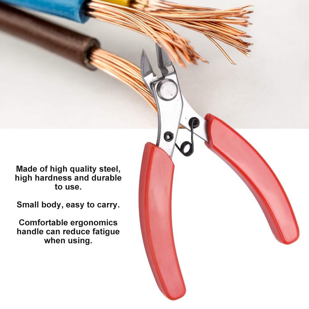 L Akozon Pinzas de corte lateral 107F1 Mini alicates diagonales electr/ónicos Pinzas de corte lateral de cable Herramienta de mano de corte de alambre
