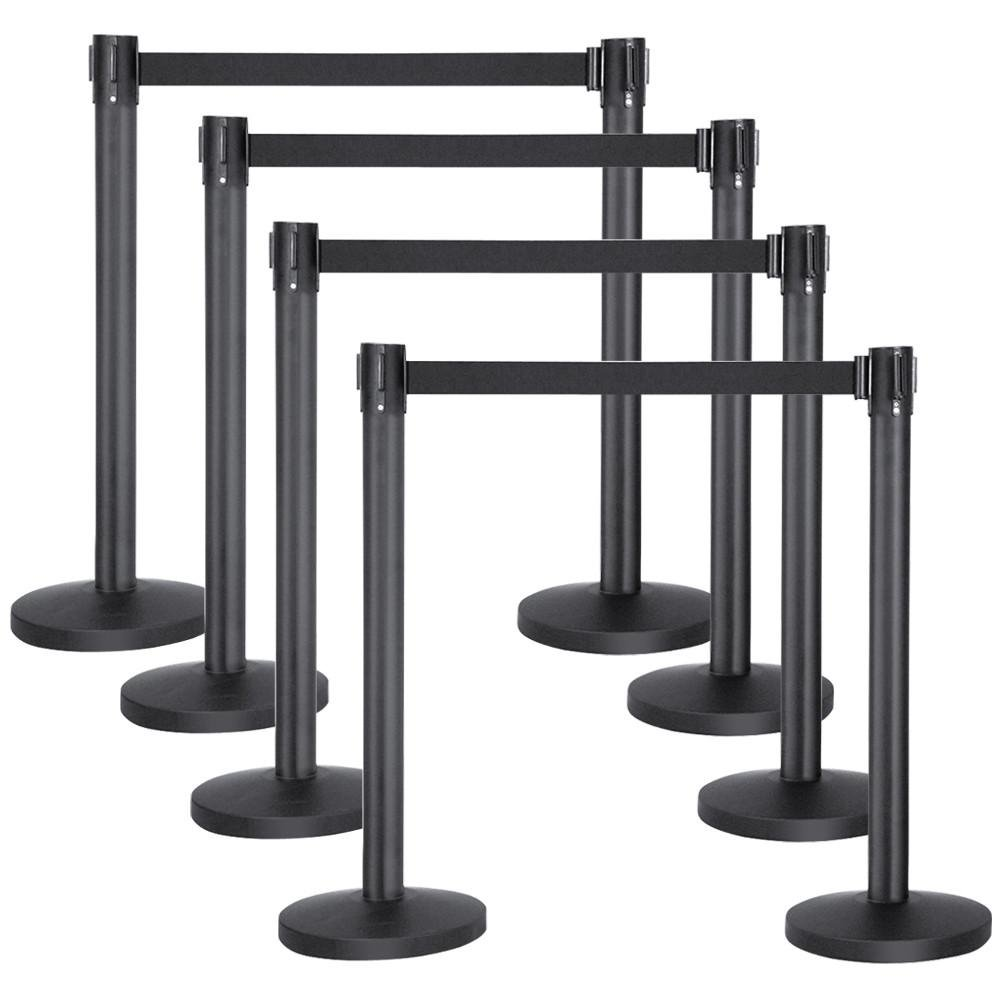 Popamazing Pair of Black Retractable/Stretch Crowd Control Security Queue Barriers Belt Stanchion Set