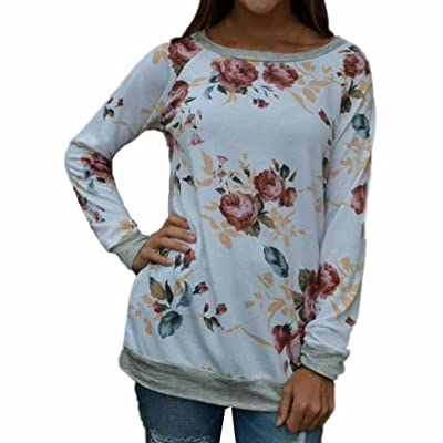 LONUPAZZ T-Shirt Longue Femme Sport O Neck Casual Sweatshirt Floral Top Blouse