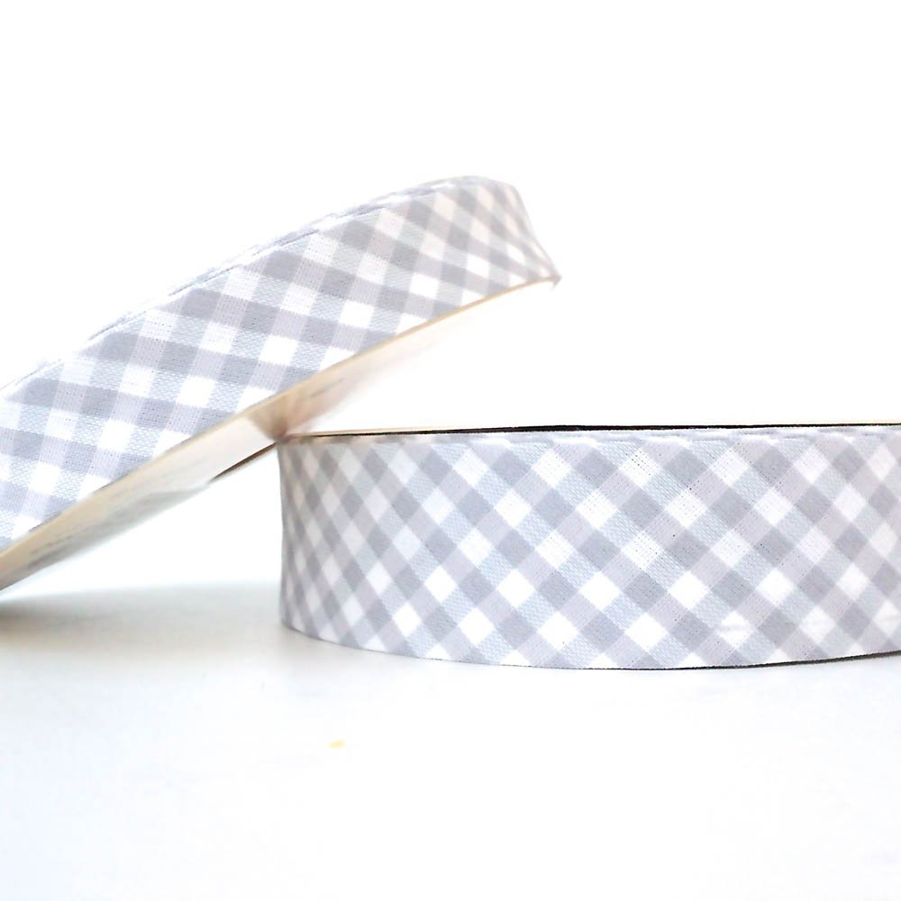 Higgs & Higgs - Gingham Bias Binding - 30mm - Grey - Cotton Fabric Folded Trim