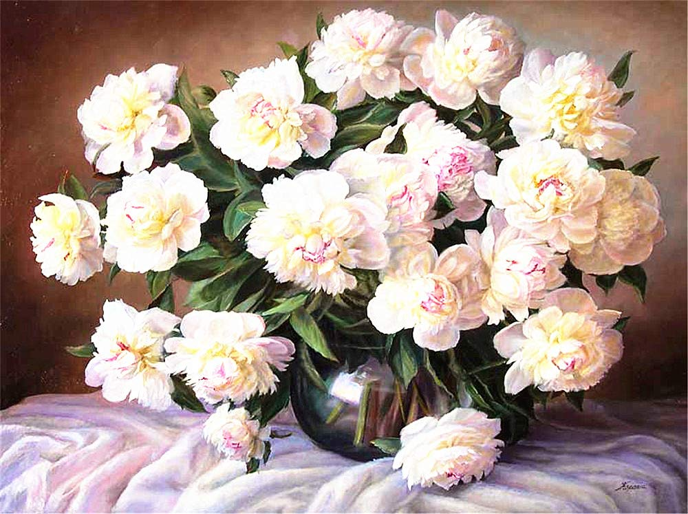 Drawing with Brushes Christmas Decor Decorations Gifts Big White Flowers Frame DIY Oil Painting Paint by Number Kit for Kids Adults Beginner 16x20 inch