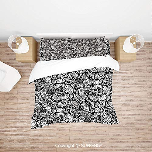 SCOXIXI 3D Duvet Cover Bedding Sets Lace Pattern with Flowers Floral Classic Handwork Needlecraft Style Art Decorative (Comforter Not Included) Soft, Breathable, Hypoallergenic, Fade Resistant