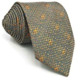 SHLAX&WING Unique Grey Orange Geometric Mens Necktie for Suit Business Wedding