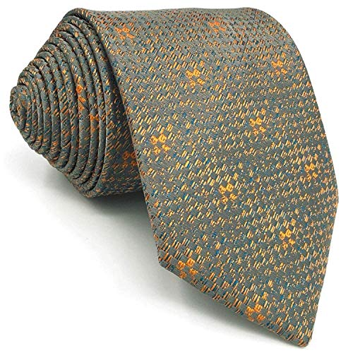 - SHLAX&WING Ties for Men Grey Orange Geometric Silk Mens Necktie 57.5 inches