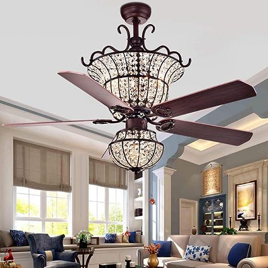 LNL Lámpara de techo con ventilador de cristal para salón