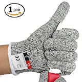 meat cutter gloves - VESLA HOME High Performance Level 5 Protection Safety Fish Fillet Processing Meat Cutting and Wood Carving Kitchen Cuts Gloves,Cut Resistant Gloves(1 Pair)
