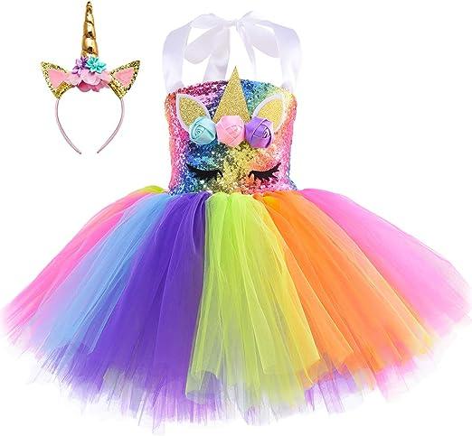 Amazon.com: Vestido de tutú de unicornio Pastel para niñas ...