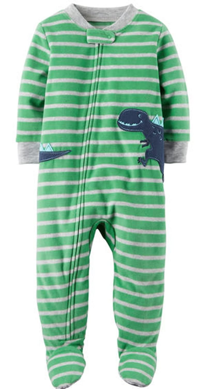 Carter's Baby Boys' 1 Pc Fleece Footed Sleeper Pajamas (6 Months, Blue Dinosaur)