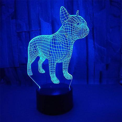 3D Optical Illusion Lamps LED Night Light Amazing Bulldog Nightlights 7  Colors Rooms Bedrooms Decorative Lighting